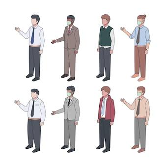 Colección de gente de negocios isométrica