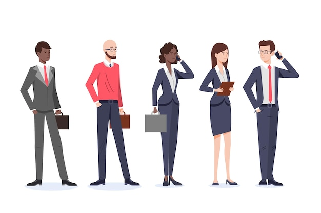 Colección de gente de negocios plana orgánica vector gratuito