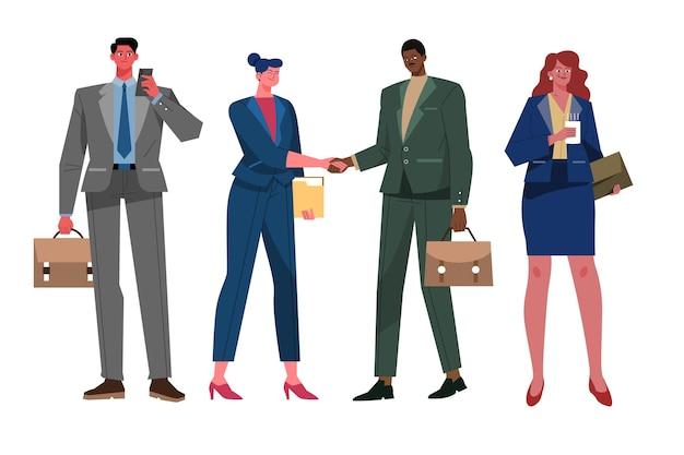 Colección de gente de negocios plana orgánica