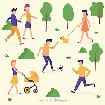 Colección gente en el parque dibujada a mano