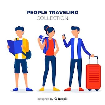 Colección gente plana viajando