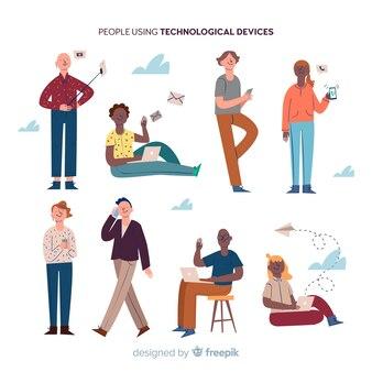 Colección gente usando dispositivos dibujado a mano