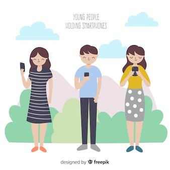 Colección gente usando smartphone dibujada a mano