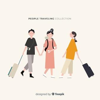 Colección gente viajando dibujada a mano