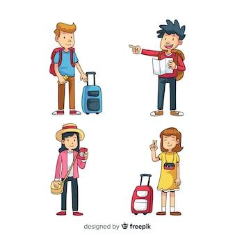 Colección gente viajando dibujos animados