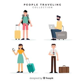 Colección gente viajando con maleta