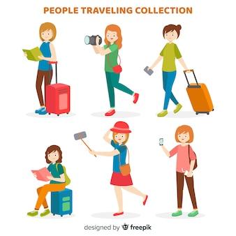 Colección gente viajando plana