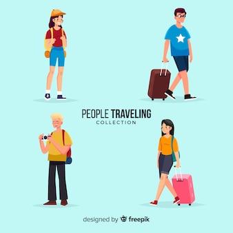 Colección gente viajando