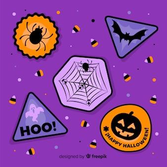 Colección geométrica de insignias de halloween