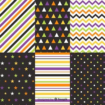 Colección geométrica de puntos y líneas de halloween