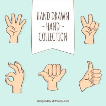 Colección de gestos de mano dibujados a mano