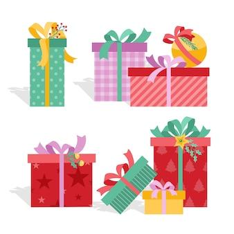 Colección de gifs navideños de diseño plano