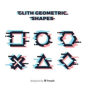 Colección glitch formas geométricas