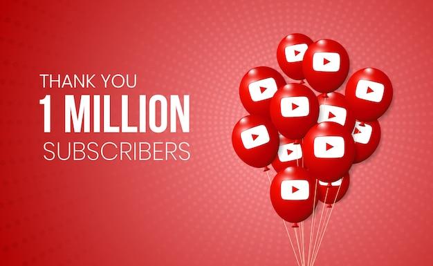 Colección de globos 3d de youtube para presentación de logros de hitos y pancartas