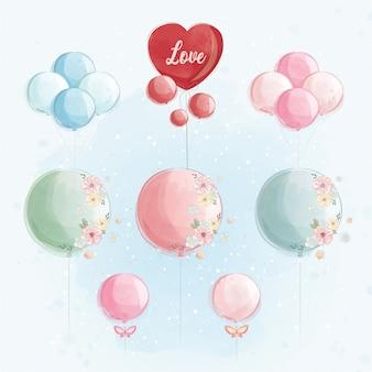 Colección de globos con corazón