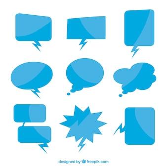 Colección de globos de diálogo de color azul