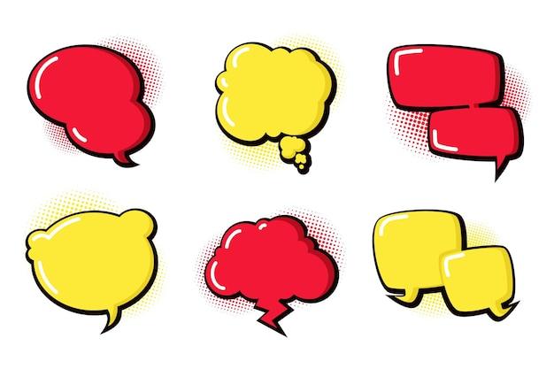 Colección de globos de diálogo estilo papel