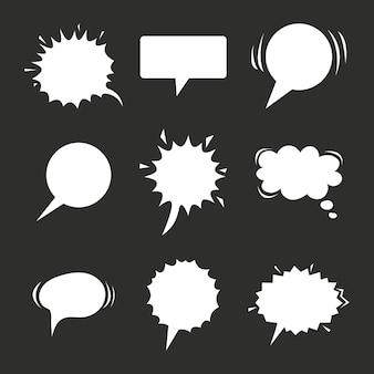 Colección de globos de discurso de dibujos animados en la ilustración de pizarra