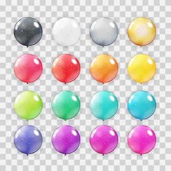 Colección de globos en fondo transparente