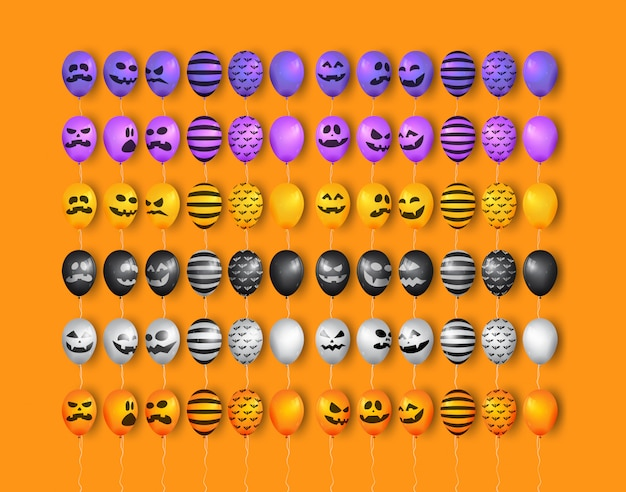 Colección de globos de halloween