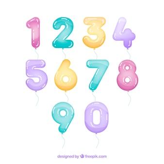 Colección de globos de números coloridos