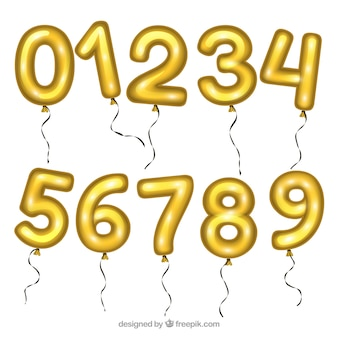 Colección de globos de números dorados