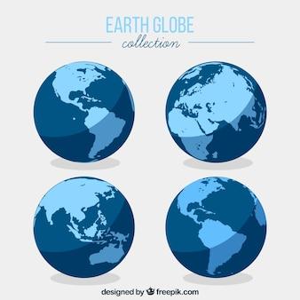 Colección de globos terráqueos planos