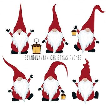 Colección de gnomos de navidad aislada sobre fondo blanco