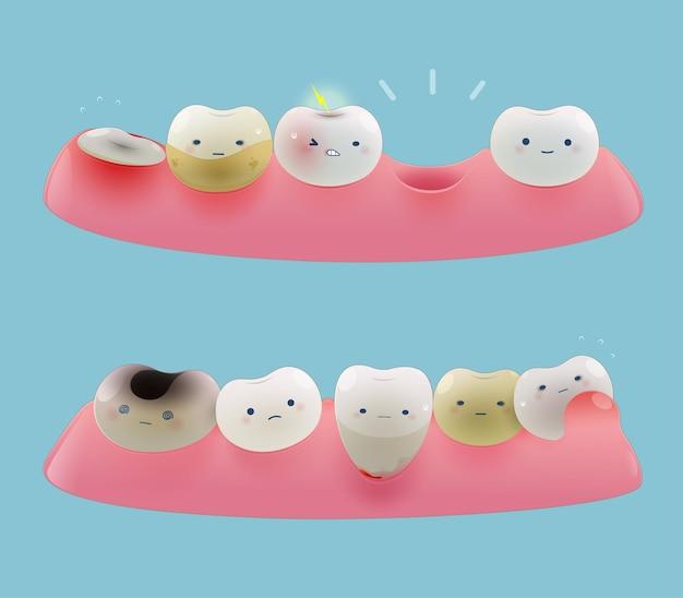 Colección de goma de mascar y pequeños dientes lindos. caricatura de problemas dentales de salud total. ilustración