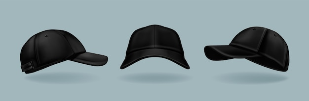 Colección de gorras negras realistas