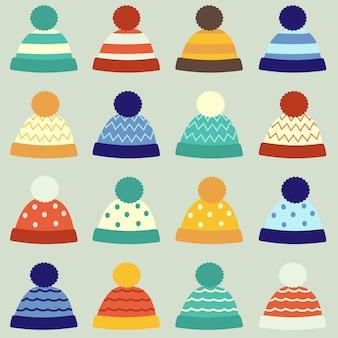La colección de gorro de invierno en muchos patrones.