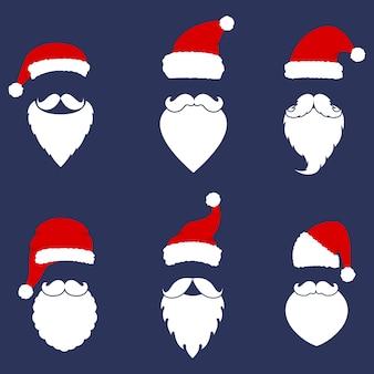 Colección de gorros, bigotes y barbas de papá noel. elementos navideños para tu fiesta.