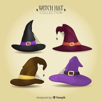 Colección de gorros de brujas de halloween