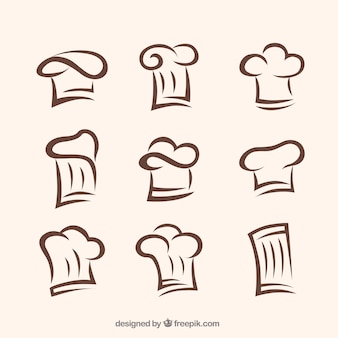 Colección de gorros de chef dibujados a mano