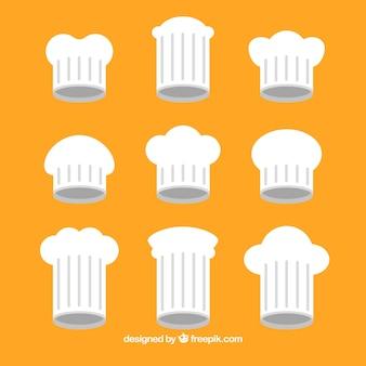 Colección de gorros de chef en diseño plano