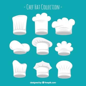Colección de gorros de tipos de gorros de chef