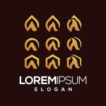 Colección de gradiente de logo de letra a set