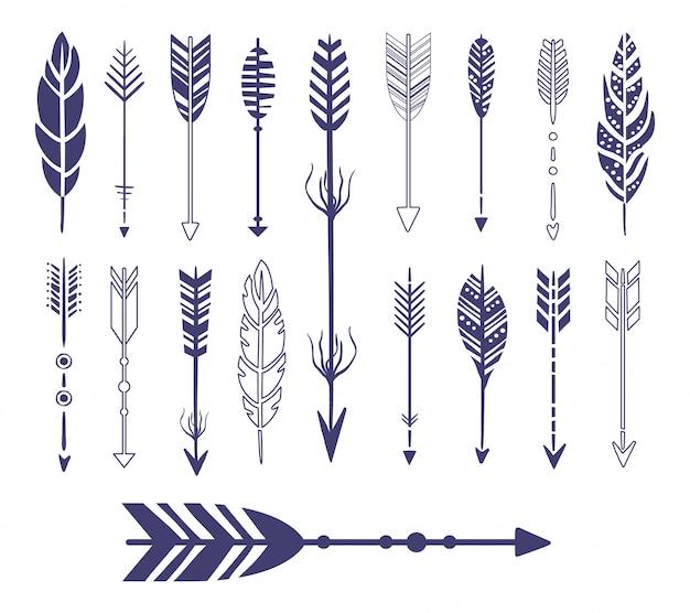 Colección gráfica de plumas y flechas