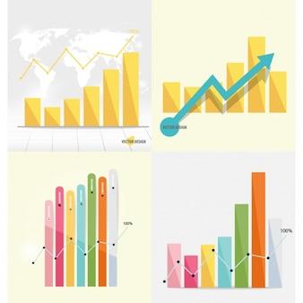 Colección de gráficas de barras infográficas