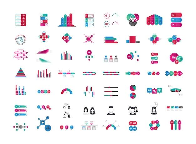 Colección de gráficos de esquemas de diagramas de banners de infografía