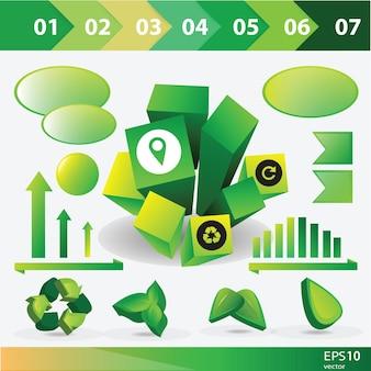 Colección de gráficos de información de ecología - elementos vectoriales para diseño