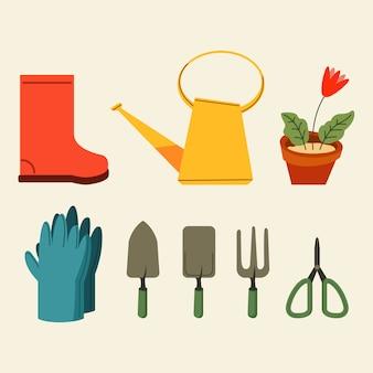 Colección de gráficos planos de herramientas de jardinería
