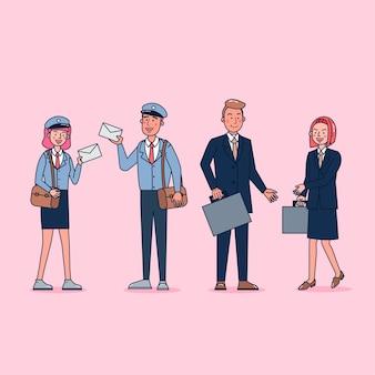 Colección de gran conjunto aislado de diversas ocupaciones o personas de profesión con uniforme profesional, ilustración plana.