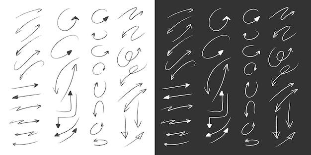 Colección grande de flechas en estilo de dibujo a mano a lápiz