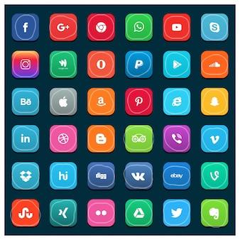 Colección grande de iconos de redes sociales
