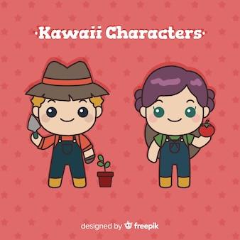 Colección granjeros kawaii dibujados a mano