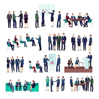 Colección de grupos de personas de negocios en reuniones reuniones informativas conferencia sobre diferentes proyectos