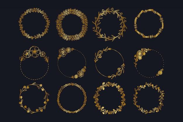 Colección de guirnalda floral de boda dorada vintage