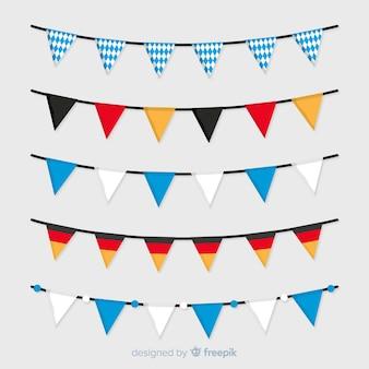 Colección de guirnaldas de bandera de colores nacionales de oktoberfest plana