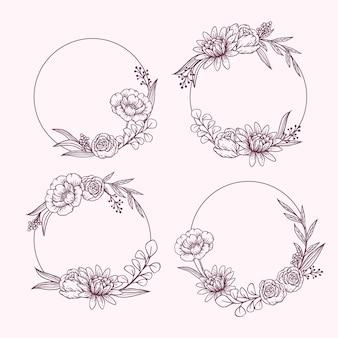 Colección de guirnaldas florales dibujadas a mano de grabado